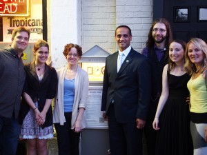 From left to right, Micro Mµseum inaugural show artists Ted Ollier, Emily Garfield, Mara Brod (not pictured: Grace Durnford); Mayor of Somerville Joe Curtatone; Mµseum engineer Steve Pomeroy; Mµseum curator and designer Judith Klausner; and Rachel Strutt of Somerville Arts Council