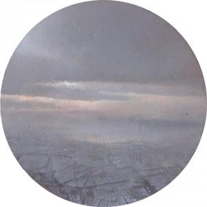 """""""35,000 ft."""" 2"""" Diameter Oil on mylar on plexiglass"""