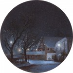 """Glen Street Station"" 2"" Diameter Oil on mylar on plexiglass"