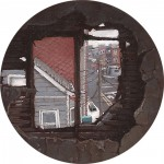 """Demolition Spyhole #2"" 2"" Diameter Oil on mylar on plexiglass"