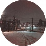 """888 Newark Ave"" 2"" Diameter Oil on mylar on plexiglass"