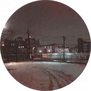 """""""888 Newark Ave"""" 2"""" Diameter Oil on mylar on plexiglass"""
